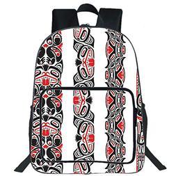 "iPrint 19"" Large Casual Backpack,Primitive,Haida Motifs in V"