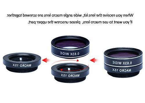 Apexel 1 Camera Lens Kit - Telephoto Wide Angle & Macro + Shutter with Mini Tripod Phone Holder Plus Plus Andriod Phone