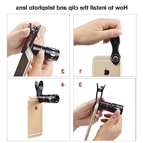 Apexel 5 Camera Lens Kit - Telephoto + Wide Angle + Mini Holder for Plus Plus Andriod