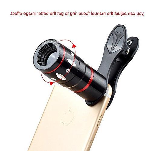 Apexel 5 Camera Kit - Telephoto + Wide Angle Macro + Wireless Shutter Mini Phone Holder for Plus Samsung Galaxy