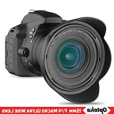 Opteka 15mm f4 1:1 Macro Angle Lens for EOS Mount DSLR Cameras