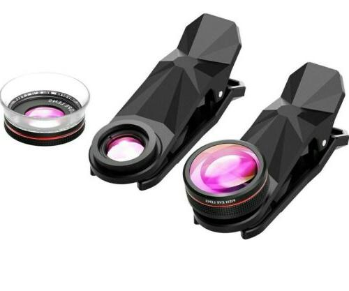 3 in 1 Wide Angle, Fish Eye, Macro Clip On Camera Lens For U