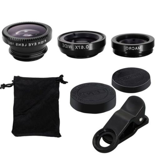 3 in1 Fish Wide Angle + Macro Camera Universal Cell Phone