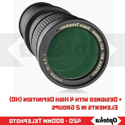 Opteka 420 / 1600mm f/8.3 Zoom & Wildlife Lens for Nikon