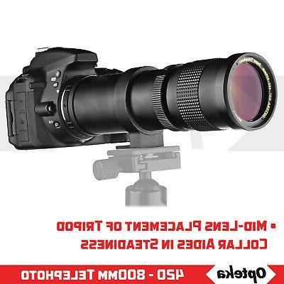 Opteka 420 f/8.3 Sports Wildlife Lens DSLR Cameras