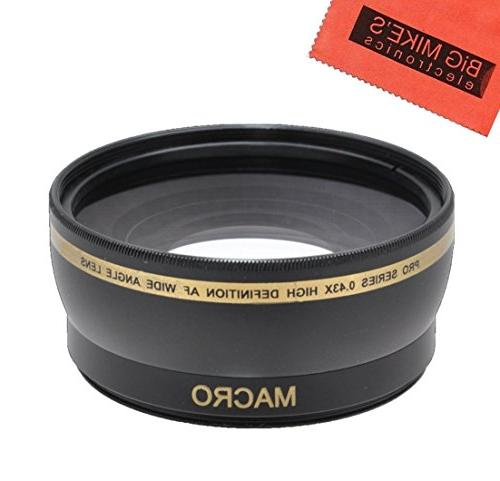 43mm 0.45x Wide Angle Lens with Macro for Canon Vixia HF R80