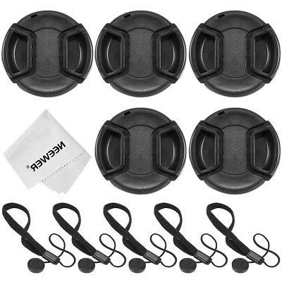 5pcs 58mm Center Pinch Lens Cap with Cap Keeper Leash and 1p