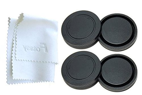 Fotasy RBE2 X 2x Rear Lens Cover and Camera Body Cap Set wit