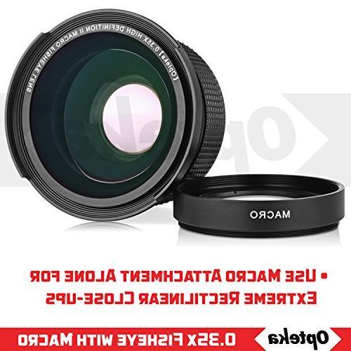 Opteka .35x Wide Panoramic Fisheye Lens for EOS 80D, 60D, 60Da, 1Ds, 6D, 5D, 5DS, Rebel T6s, T6i, T6, T5, T2i SL1 Digital SLR