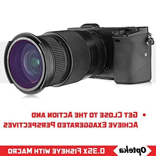 Opteka .35x HD Wide Panoramic Fisheye Lens EOS 80D, 70D, 60Da, T6s, T5, T4i, T2i and