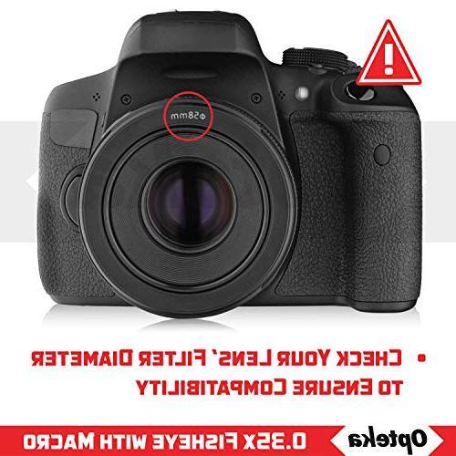 Opteka HD Super Wide Panoramic Fisheye Lens for EOS 60Da, 6D, 5D, 5DS, T6s, T6i, T5, T4i, T2i and SLR Cameras