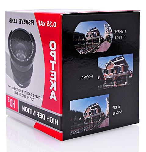 Opteka .35x Wide Fisheye D5, D810, D750, D500, D610, D7100, D3300, D3200 Cameras