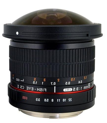 Rokinon HD8M-C 8mm f/3.5 HD Fisheye Lens with Removeable Hoo