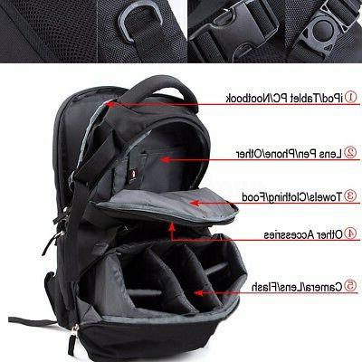 Waterproof Large Backpack Case Lens DSLR Canon Sony