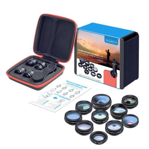 APEXEL 10 in 1 Cell Phone Camera Lens Wide Angle Lens & Macr