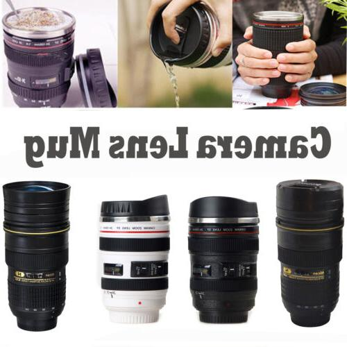 camera lens thermos cup coffee travel stainless