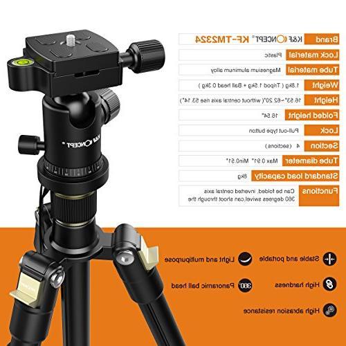 Camera Tripod, K&F Quick Plate Tripod for Camera Canon Nikon DSLR