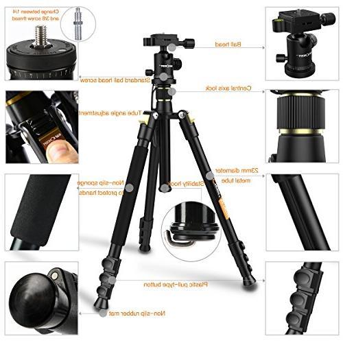 Camera Aluminum Tripod TM2324 Inch with Ball Head Quick Tripod Canon Nikon Sony Black Tripod
