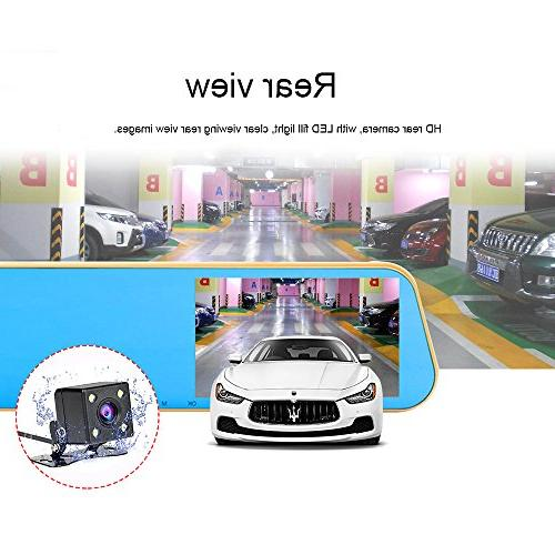 "TENNBOO 4.3"" HD 1080P Dash Camera 170°Wide Angle Front and Rear Mount DVR Loop Vision"