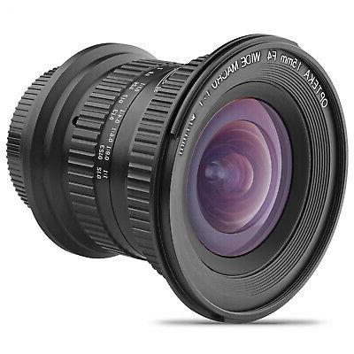 Opteka 15mm f4 1:1 Macro Wide Angle Lens for Canon EOS EF Mo