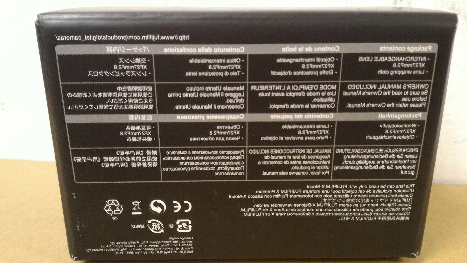 Fujifilm XF27mm F/2.8 Lens -