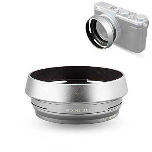 Lens Hood Set JJC for Fuji Fujifilm X100F X100S X100T X100 X70 Replaces  Fujifilm LH-X100 Lens Hood & Adapter Ring Aluminum alloy-Silver 1 pack