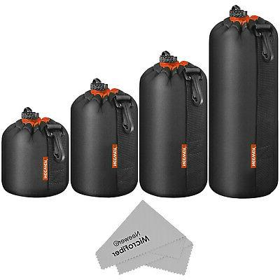 Neewer Lens Pouch 4-Pack 4-Size Thick Protective Bag Case fo