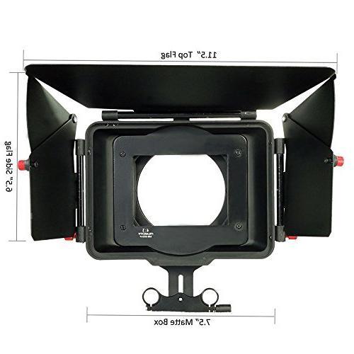 FILMCITY Power Sunshade Matte Box 15mm Rod Support Movie Camera Lenses to