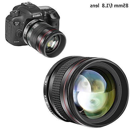 Portrait for Canon EOS 80D 70D 60Da 7D 1Ds T6 T5i T5 T3i SL1 DSLR Cameras, Focus HD Glass