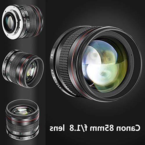 Neewer 85mm f/1.8 Portrait Aspherical Telephoto Lens for EOS 70D 60D 7D 1Ds T6s T6 T5 T3i T3 T2i and SL1 Manual