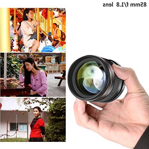 Neewer Multi-Coated 85mm f/1.8 Portrait for Canon EOS 80D 70D 60D 7D 1Ds T6s T6i T3i SL1 Focus