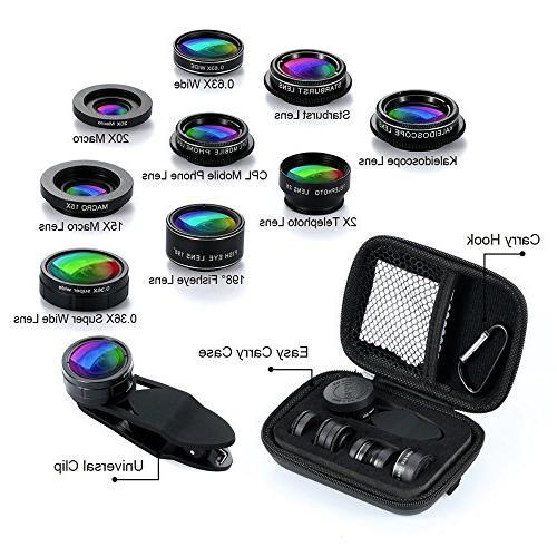 Phone Camera Lens 9 in Universal Lens+198° lens + Wide Angle 0.63X Wide Macro + Starburst