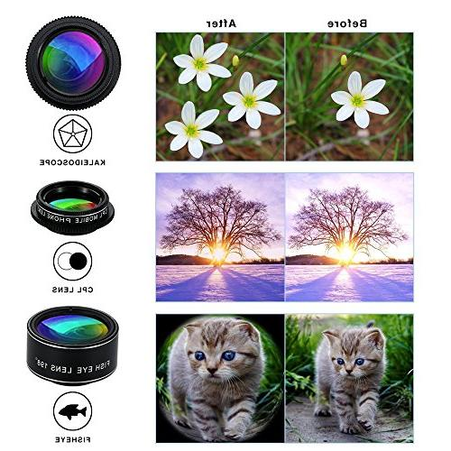 Phone 9 Universal Telephoto lens + 0.63X +20X Macro Lens Macro Lens CPL + Kaleidoscope + Starburst