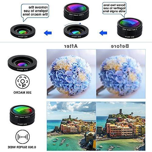 Phone Lens Kit, 9 in Universal Lens+198° lens 0.36 Super Wide Lens + 0.63X Lens Macro + Macro + CPL + Lens Starburst