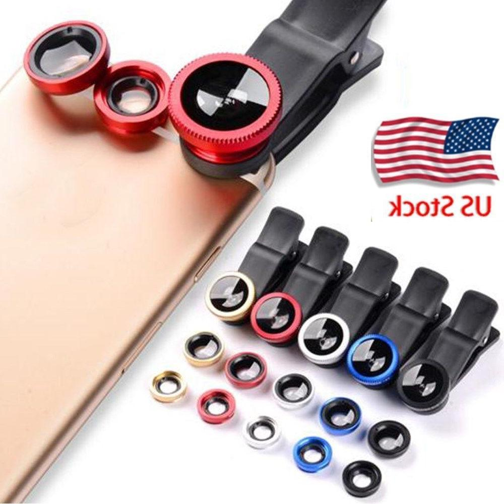 Smart Phone Camera Lens Universal 3 in 1 Clip On Kit Wide An