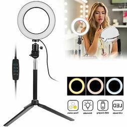 LED Ring Light Phone Selfie Camera Photo Studio Video Dimmab