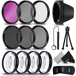 PRO 67MM Lens Filters + 67mm Lens Hood KIT for Canon EF-S 18