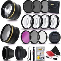 72MM Professional Lens & Filters Accessories Bundle Kit for