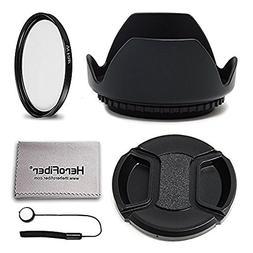58mm Lens Hood + 58mm UV Filter + 58mm Lens Cap KIT For For