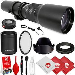Opteka 500mm/1000mm f/8 Manual Telephoto Lens for Canon EOS