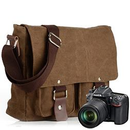 30caa6e02a54 Peacechaos Men s Canvas Leather DSLR SLR Vintage Camera Mess