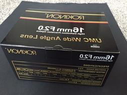 NEW* Rokinon 16M-C 16mm f/2.0 Aspherical Wide Angle Lens for