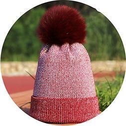 Noon-Sunshine∩ Ladies Pompom Knit Beanies Hat Winter Woman