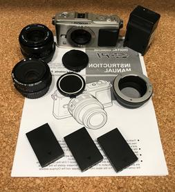Olympus PEN E-P1 12.3 MP Digital Camera 2 lenses Pentax 50 V