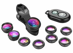 Apexel Phone Camera Lens-Macro Lens+Wide Lens+Fisheye Lens+T