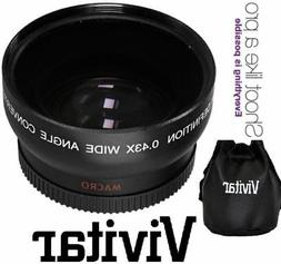 Vivitar Pro .43X Wide Angle Lens w Macro 37mm threading Blac