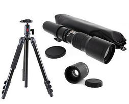 Pro Ball Head Tripod w/ 500-1000mm f/8 Telephoto Lens For Ca