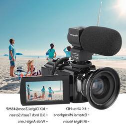 Professional Video Camera 4K Ultra HD 48MP Digital Camcorder