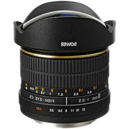 Bower SLY 358C 8mm f/3.5 Fisheye Lens for Canon APS-C EOS Ca