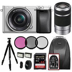 Sony Alpha a6300 Silver w/16-50mm & 55-210mm Lens Bundle